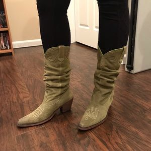 Steve Madden | suede green cowgirl boots